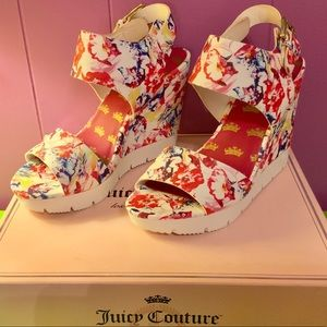 Juicy Couture Trish Floral Platform Wedge Sandal